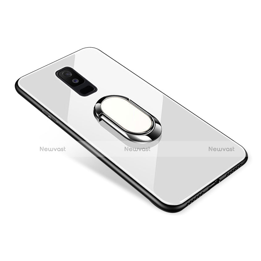 Silicone Frame Mirror Case Cover with Finger Ring Stand for Samsung Galaxy A6 Plus White