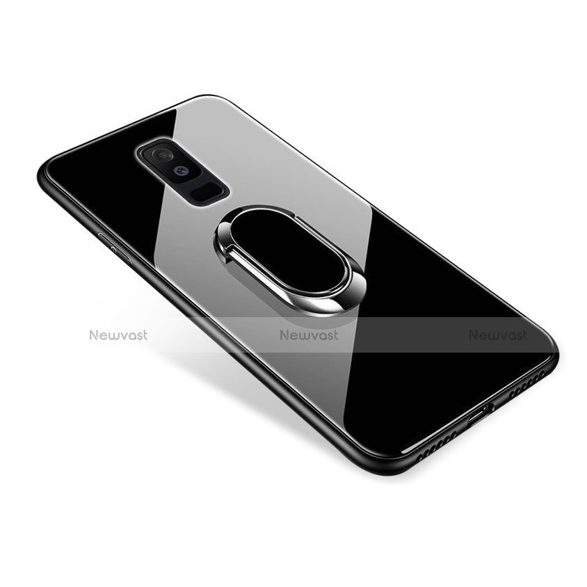 Silicone Frame Mirror Case Cover with Finger Ring Stand for Samsung Galaxy A9 Star Lite Black