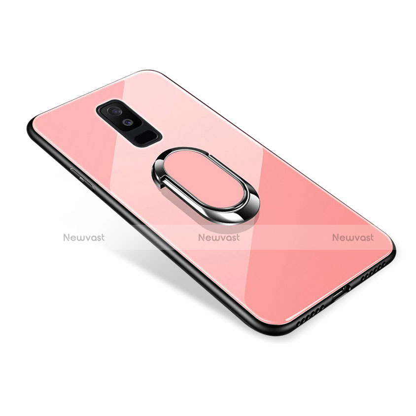Silicone Frame Mirror Case Cover with Finger Ring Stand for Samsung Galaxy A9 Star Lite Rose Gold