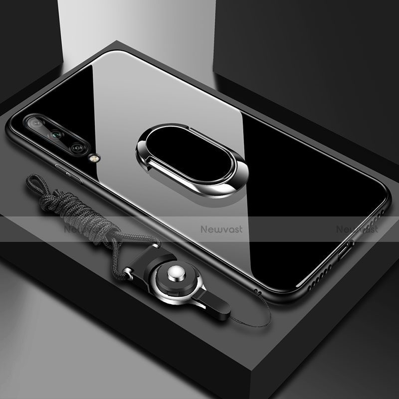 Silicone Frame Mirror Case Cover with Magnetic Finger Ring Stand for Huawei Enjoy 10S