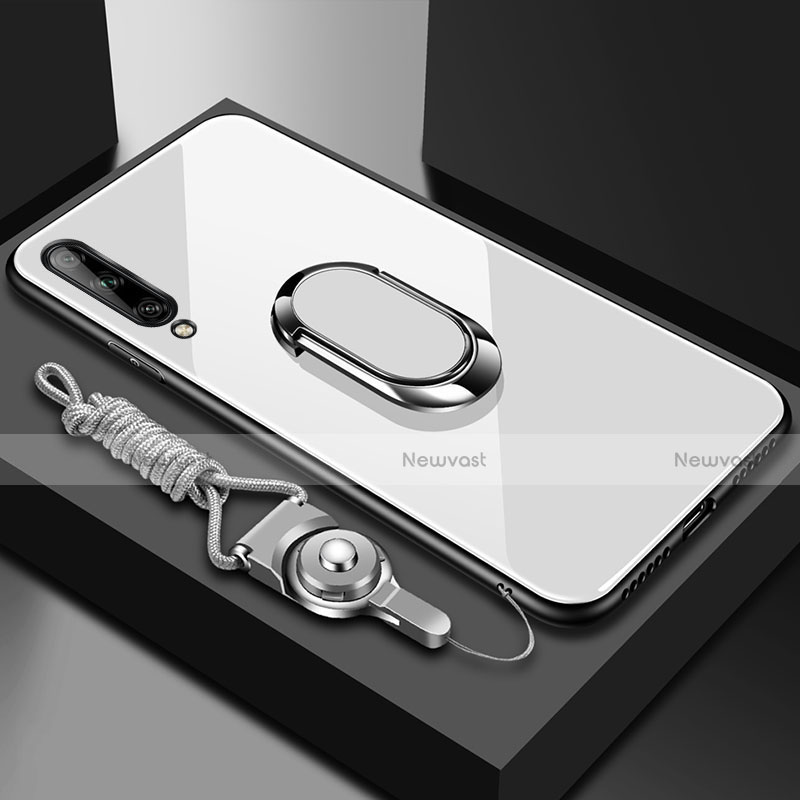 Silicone Frame Mirror Case Cover with Magnetic Finger Ring Stand for Huawei Enjoy 10S White