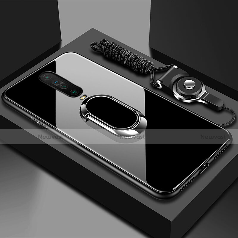 Silicone Frame Mirror Case Cover with Magnetic Finger Ring Stand for Xiaomi Redmi K30 5G Black