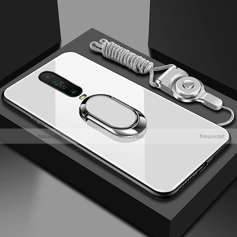 Silicone Frame Mirror Case Cover with Magnetic Finger Ring Stand for Xiaomi Redmi K30 5G White