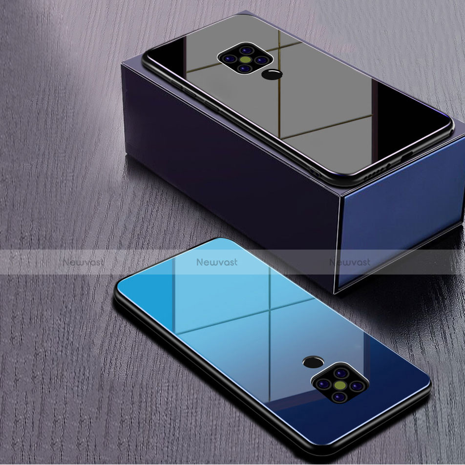 Silicone Frame Mirror Rainbow Gradient Case Cover for Huawei Mate 20