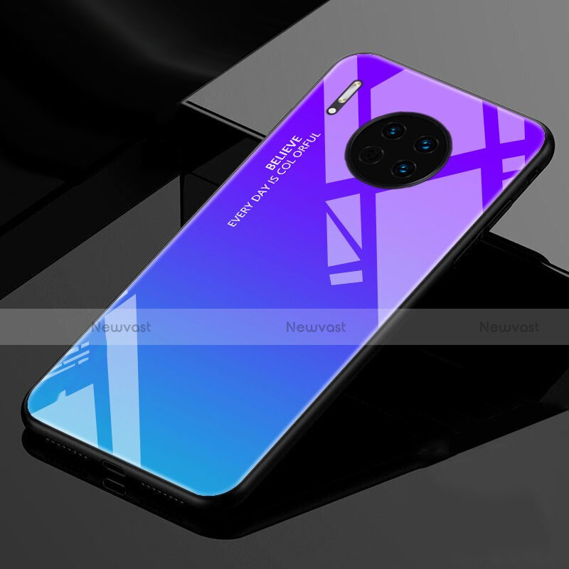 Silicone Frame Mirror Rainbow Gradient Case Cover for Huawei Mate 30 Pro 5G