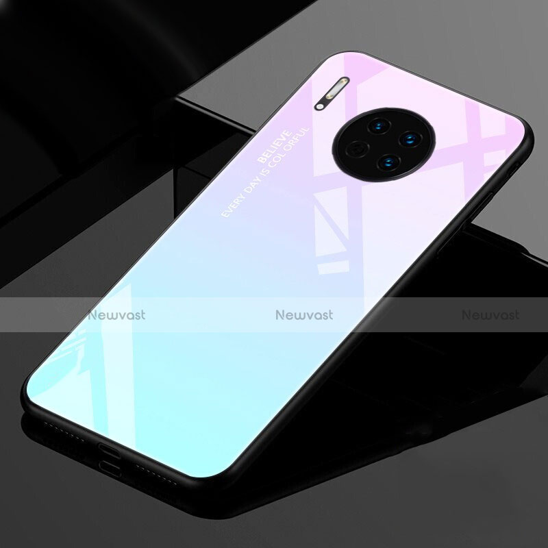 Silicone Frame Mirror Rainbow Gradient Case Cover for Huawei Mate 30 Pro 5G Cyan