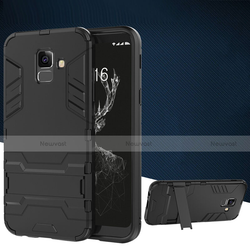 Silicone Matte Finish and Plastic Back Case with Stand for Samsung Galaxy A6 (2018) Black