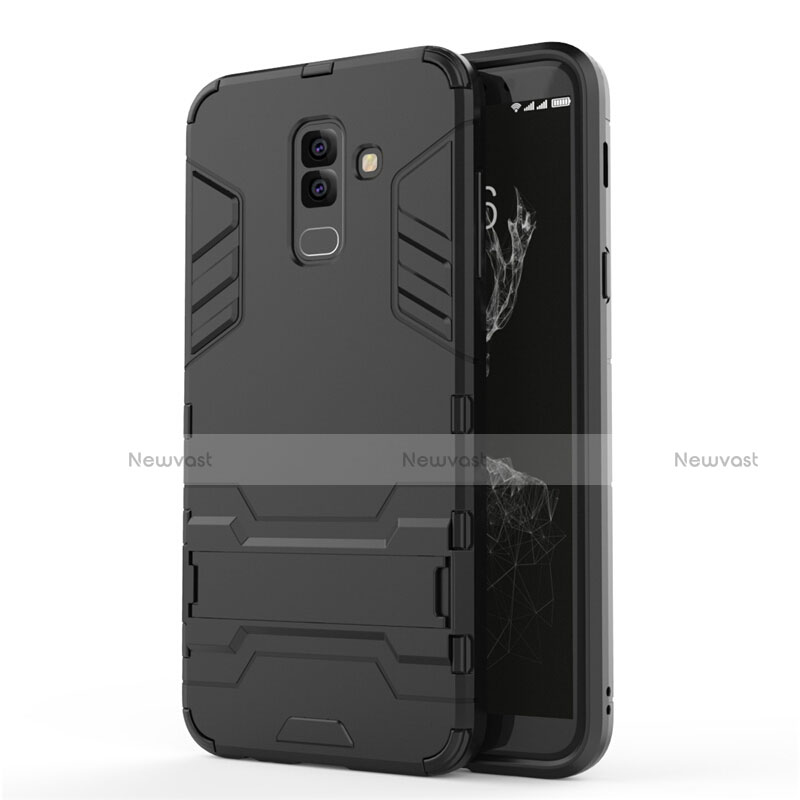 Silicone Matte Finish and Plastic Back Case with Stand for Samsung Galaxy A6 Plus Black