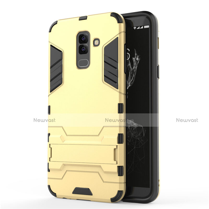 Silicone Matte Finish and Plastic Back Case with Stand for Samsung Galaxy A6 Plus Gold