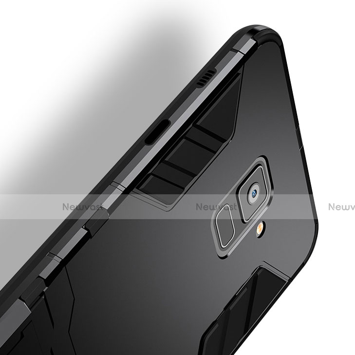 Silicone Matte Finish and Plastic Back Case with Stand for Samsung Galaxy A8 (2018) A530F Black