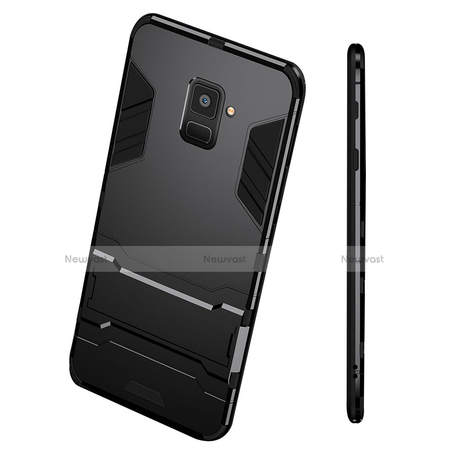 Silicone Matte Finish and Plastic Back Case with Stand for Samsung Galaxy A8 (2018) Duos A530F Black