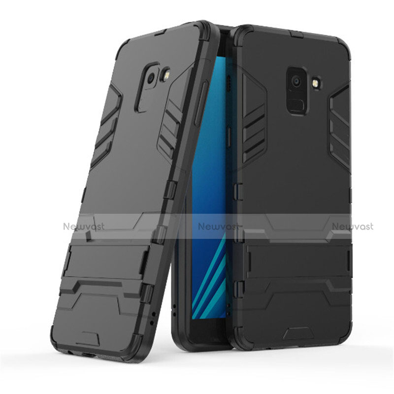Silicone Matte Finish and Plastic Back Case with Stand for Samsung Galaxy A8+ A8 Plus (2018) A730F Black