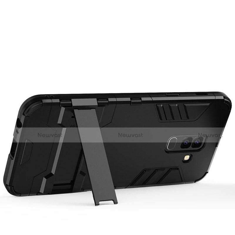 Silicone Matte Finish and Plastic Back Case with Stand for Samsung Galaxy A9 Star Lite Black