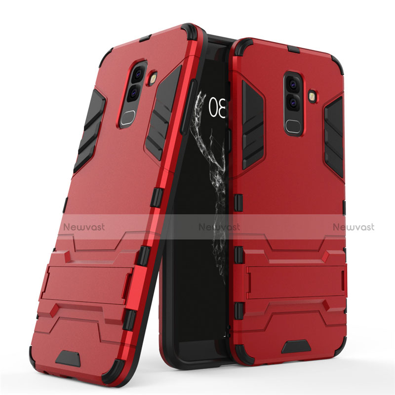 Silicone Matte Finish and Plastic Back Case with Stand for Samsung Galaxy A9 Star Lite Red