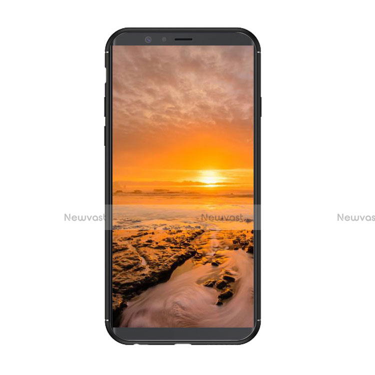 Silicone Matte Finish and Plastic Back Case with Stand W01 for Samsung Galaxy A6 (2018) Black