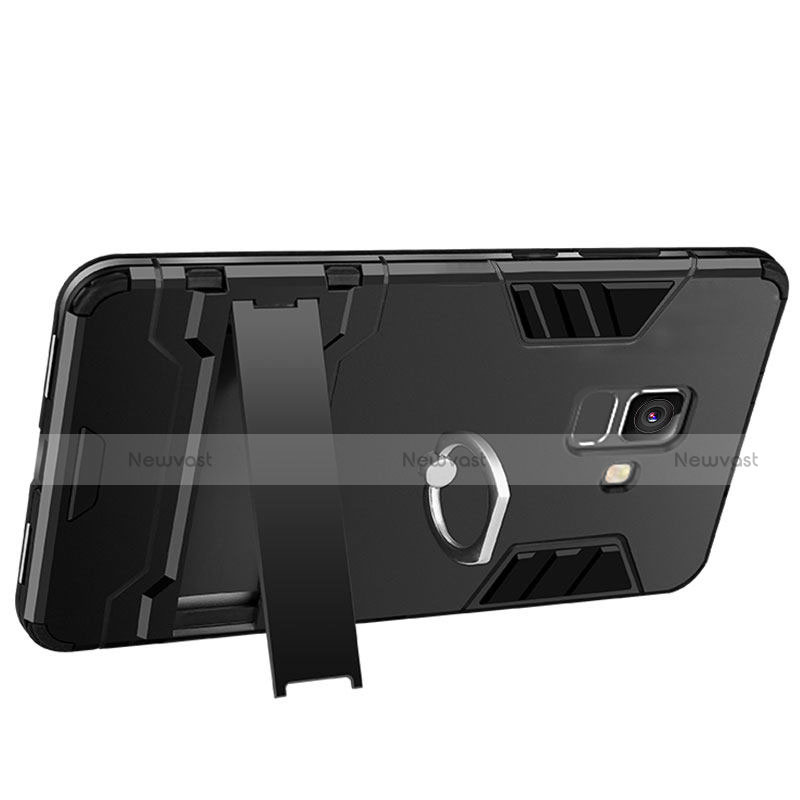 Silicone Matte Finish and Plastic Back Case with Stand W01 for Samsung Galaxy A6 (2018) Dual SIM Black
