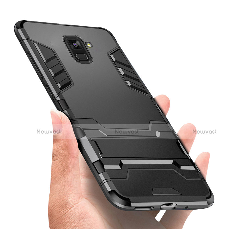 Silicone Matte Finish and Plastic Back Case with Stand W01 for Samsung Galaxy A8+ A8 Plus (2018) A730F Black