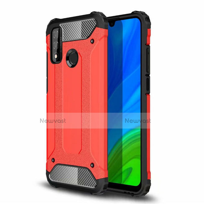 Silicone Matte Finish and Plastic Back Cover Case for Huawei P Smart (2020) Red