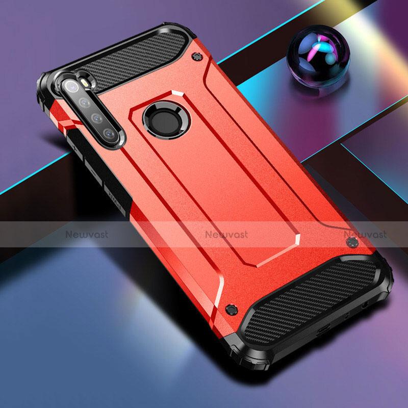 Silicone Matte Finish and Plastic Back Cover Case for Xiaomi Redmi Note 8 Red