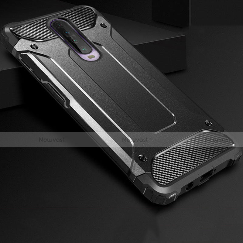 Silicone Matte Finish and Plastic Back Cover Case U01 for Xiaomi Redmi K30 5G Black
