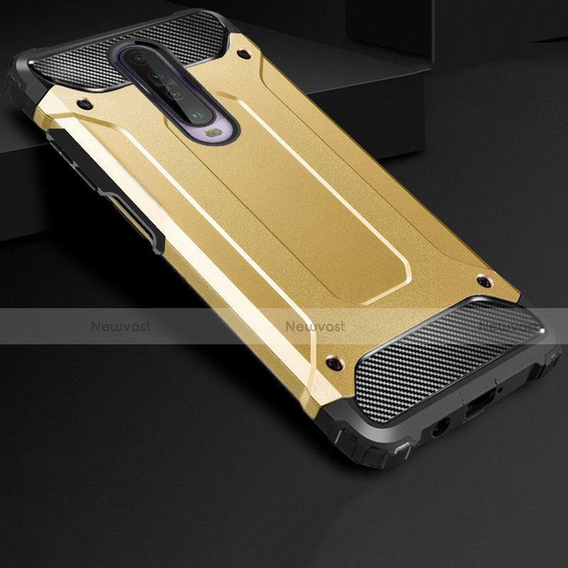 Silicone Matte Finish and Plastic Back Cover Case U01 for Xiaomi Redmi K30 5G Gold