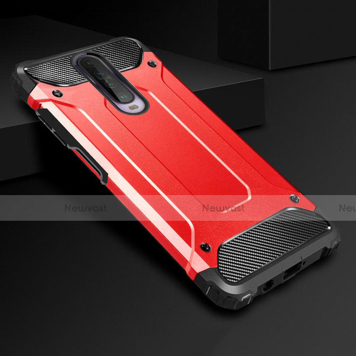 Silicone Matte Finish and Plastic Back Cover Case U01 for Xiaomi Redmi K30 5G Red