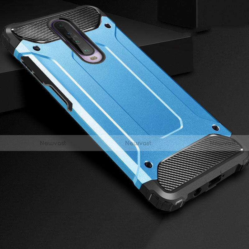 Silicone Matte Finish and Plastic Back Cover Case U01 for Xiaomi Redmi K30 5G Sky Blue