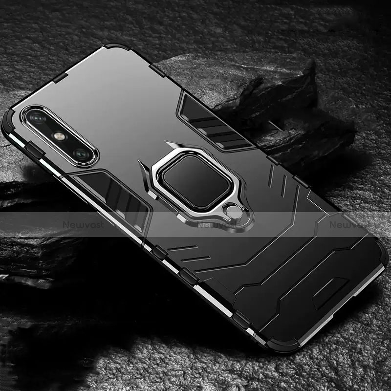 Silicone Matte Finish and Plastic Back Cover Case with Magnetic Finger Ring Stand for Huawei Enjoy 10e Black