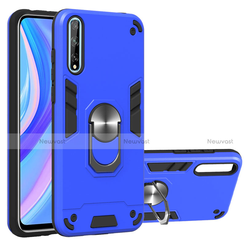 Silicone Matte Finish and Plastic Back Cover Case with Magnetic Finger Ring Stand for Huawei Enjoy 10S