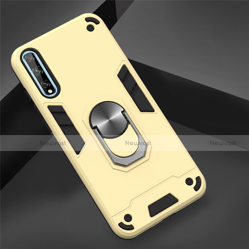 Silicone Matte Finish and Plastic Back Cover Case with Magnetic Finger Ring Stand for Huawei Enjoy 10S Gold
