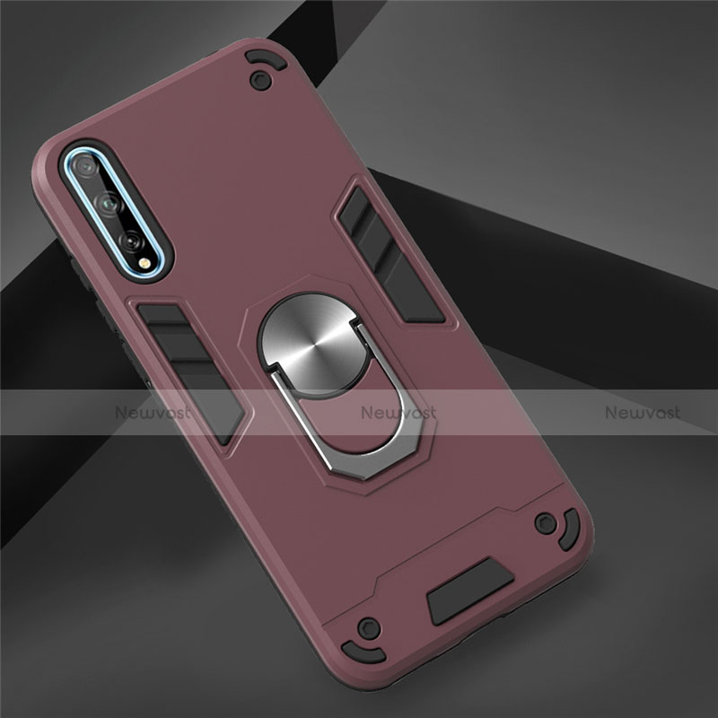 Silicone Matte Finish and Plastic Back Cover Case with Magnetic Finger Ring Stand for Huawei Enjoy 10S Red Wine