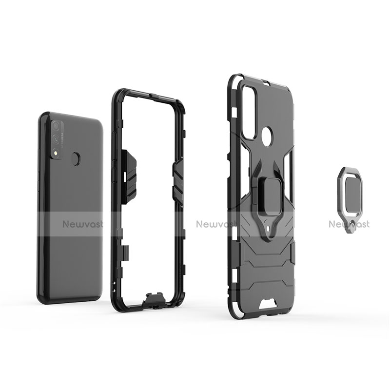 Silicone Matte Finish and Plastic Back Cover Case with Magnetic Finger Ring Stand for Huawei P Smart (2020)