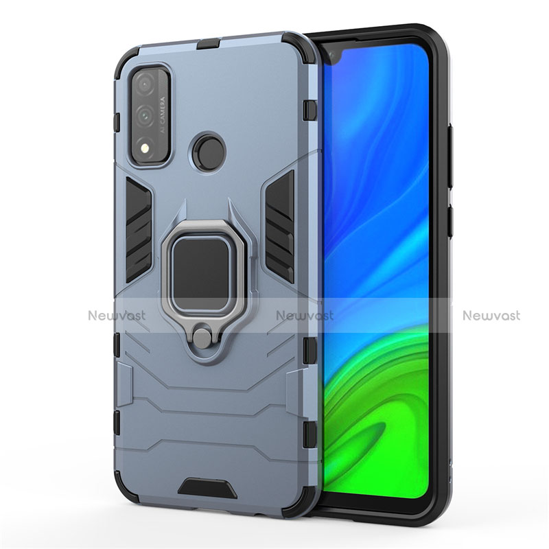 Silicone Matte Finish and Plastic Back Cover Case with Magnetic Finger Ring Stand for Huawei P Smart (2020) Blue