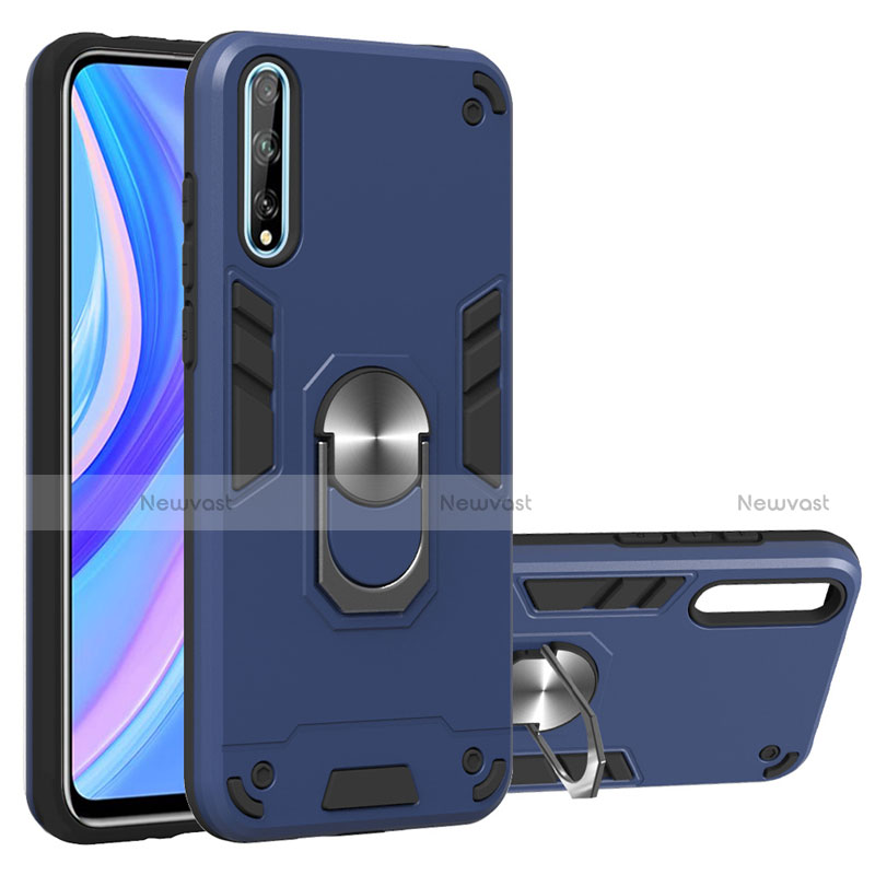 Silicone Matte Finish and Plastic Back Cover Case with Magnetic Finger Ring Stand for Huawei Y8p
