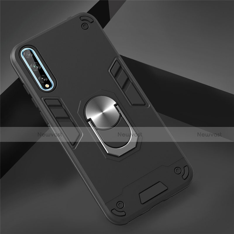 Silicone Matte Finish and Plastic Back Cover Case with Magnetic Finger Ring Stand for Huawei Y8p Black