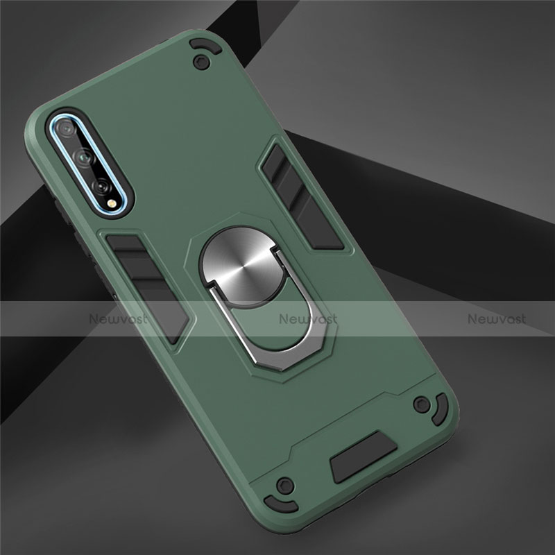 Silicone Matte Finish and Plastic Back Cover Case with Magnetic Finger Ring Stand for Huawei Y8p Green