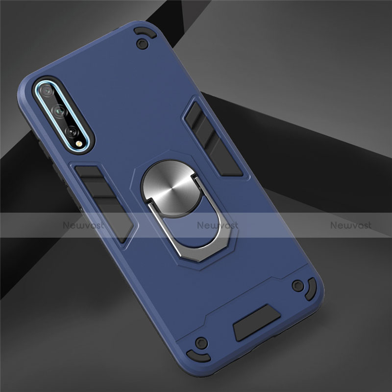 Silicone Matte Finish and Plastic Back Cover Case with Magnetic Finger Ring Stand for Huawei Y8p Sky Blue