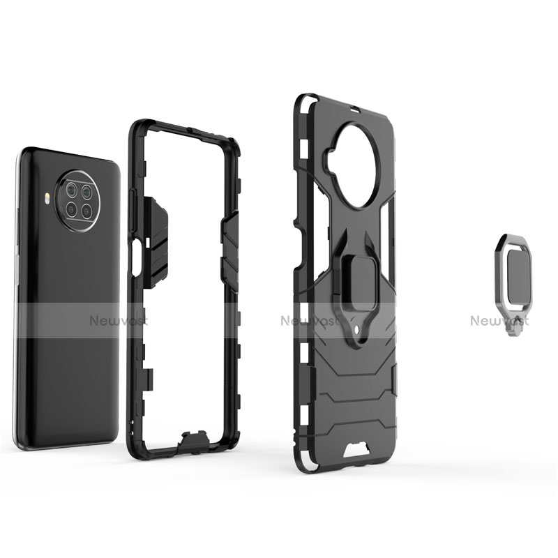 Silicone Matte Finish and Plastic Back Cover Case with Magnetic Finger Ring Stand for Xiaomi Mi 10T Lite 5G