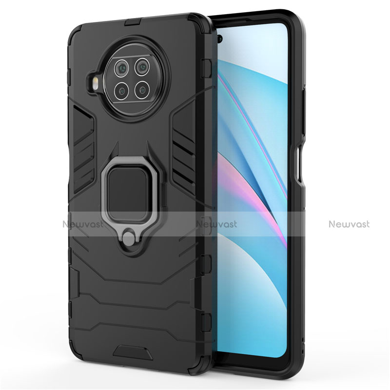 Silicone Matte Finish and Plastic Back Cover Case with Magnetic Finger Ring Stand for Xiaomi Mi 10T Lite 5G Black