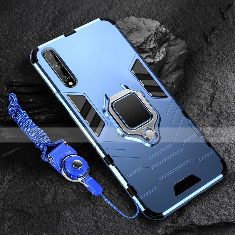 Silicone Matte Finish and Plastic Back Cover Case with Magnetic Finger Ring Stand S01 for Huawei Enjoy 10S Blue