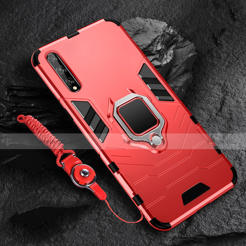Silicone Matte Finish and Plastic Back Cover Case with Magnetic Finger Ring Stand S01 for Huawei Enjoy 10S Red