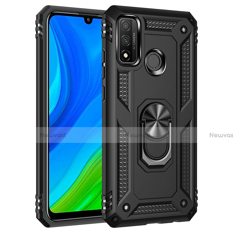 Silicone Matte Finish and Plastic Back Cover Case with Magnetic Finger Ring Stand S01 for Huawei P Smart (2020)
