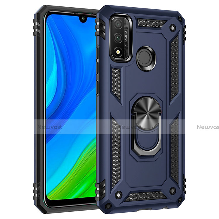Silicone Matte Finish and Plastic Back Cover Case with Magnetic Finger Ring Stand S01 for Huawei P Smart (2020) Blue