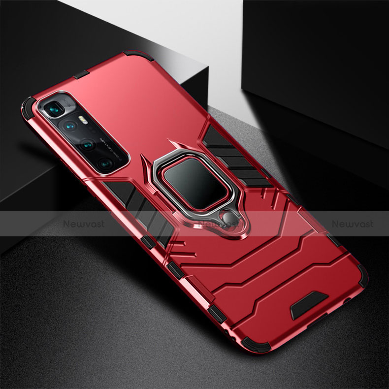 Silicone Matte Finish and Plastic Back Cover Case with Magnetic Finger Ring Stand S01 for Xiaomi Mi 10 Ultra