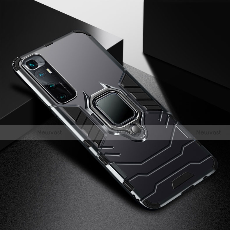 Silicone Matte Finish and Plastic Back Cover Case with Magnetic Finger Ring Stand S01 for Xiaomi Mi 10 Ultra Black