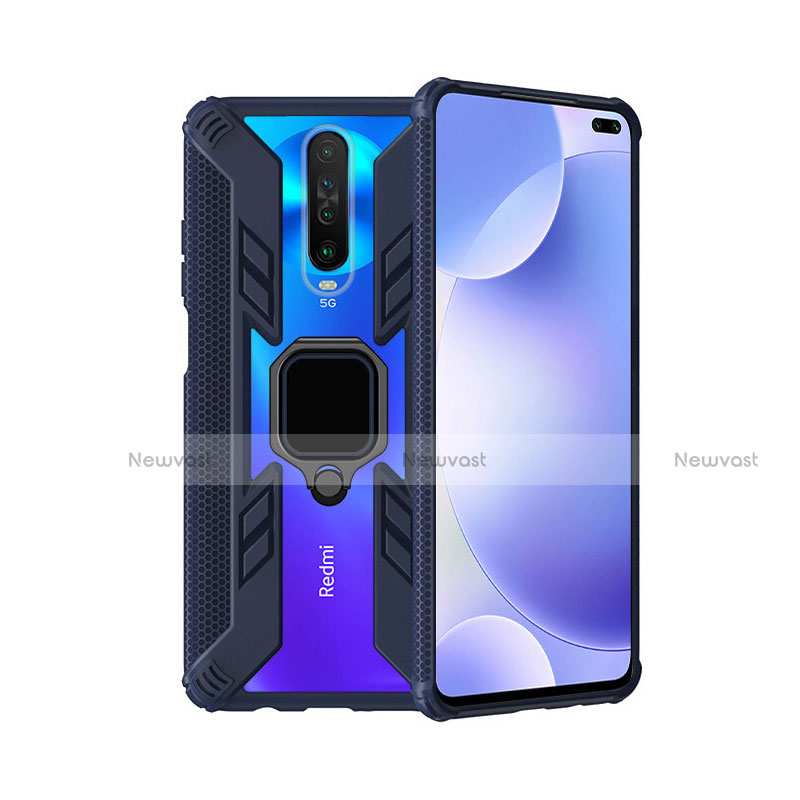 Silicone Matte Finish and Plastic Back Cover Case with Magnetic Finger Ring Stand S02 for Xiaomi Redmi K30 5G Blue