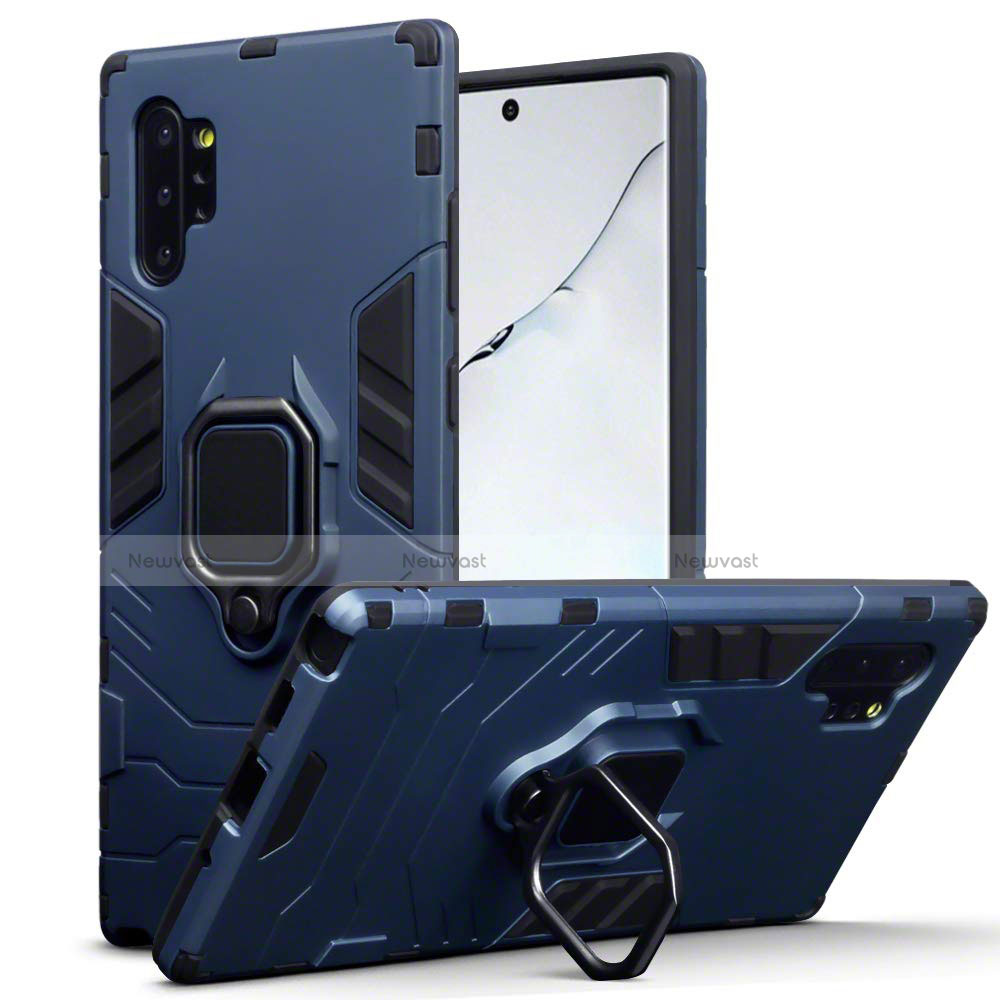 Silicone Matte Finish and Plastic Back Cover Case with Magnetic Stand A03 for Samsung Galaxy Note 10 Plus 5G