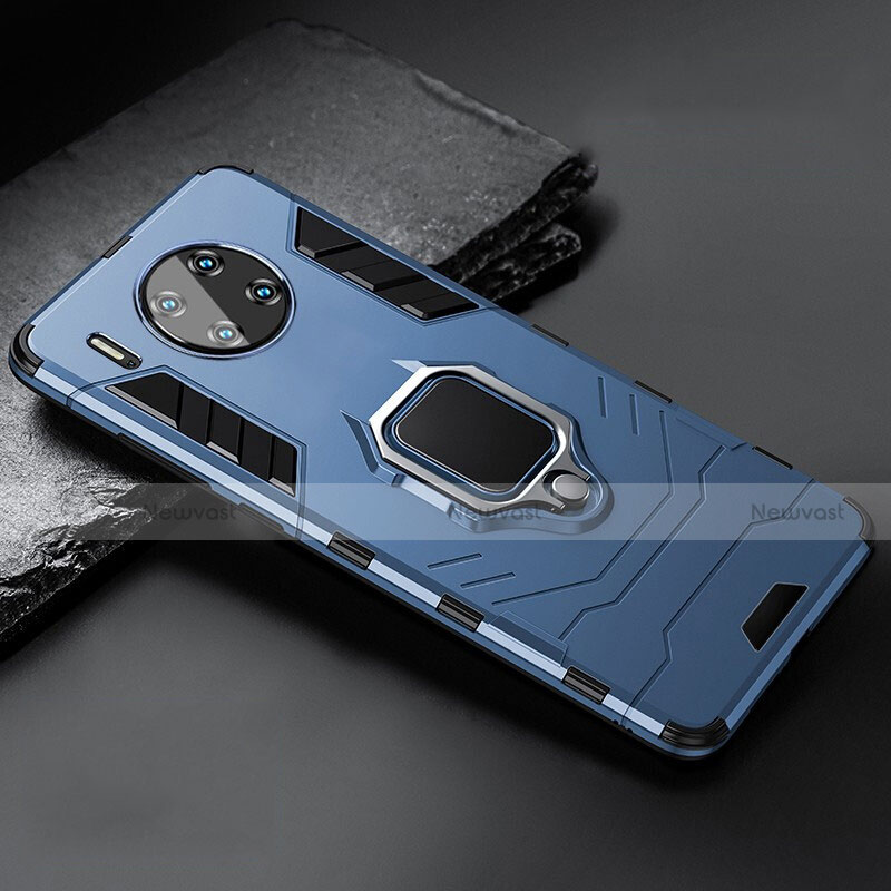Silicone Matte Finish and Plastic Back Cover Case with Magnetic Stand for Huawei Mate 30 Pro 5G Blue