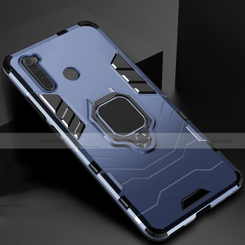 Silicone Matte Finish and Plastic Back Cover Case with Magnetic Stand for Xiaomi Redmi Note 8