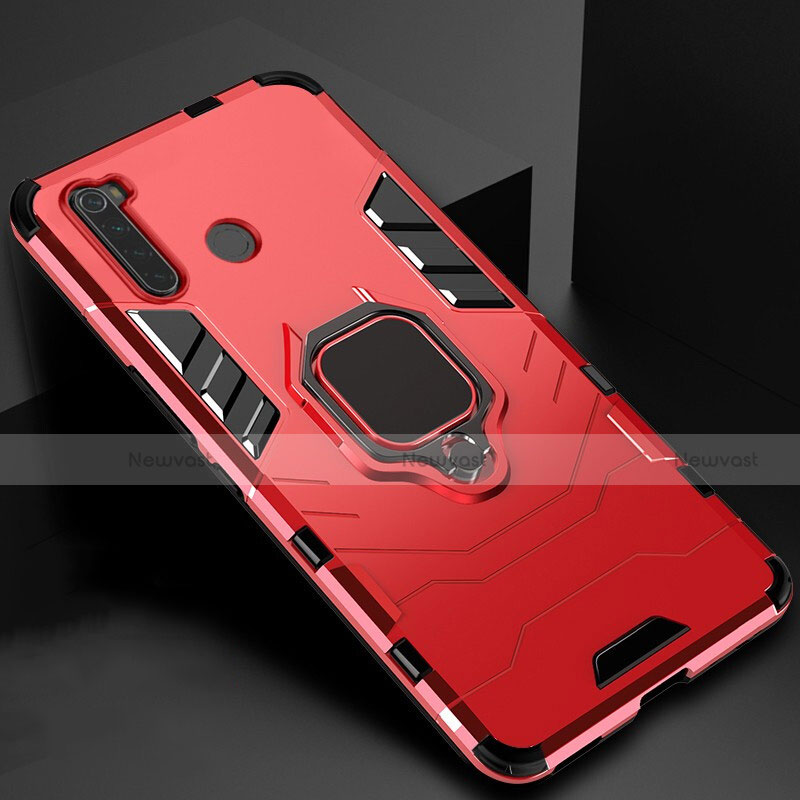 Silicone Matte Finish and Plastic Back Cover Case with Magnetic Stand for Xiaomi Redmi Note 8 Red
